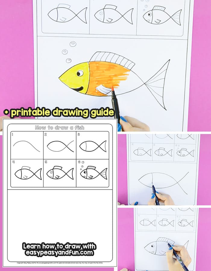 How to Draw a Fish Step by Step Tutorial for Kids + Printable - Easy