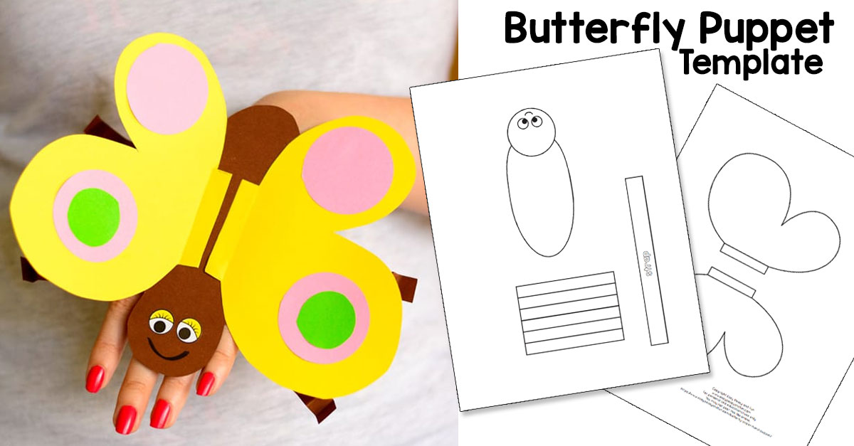 Butterfly Paper Hand Puppet - Easy Peasy and Fun - puppet templates