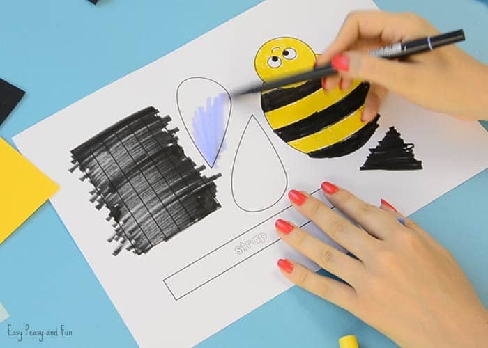 Bee Paper Hand Puppet Template - Easy Peasy and Fun