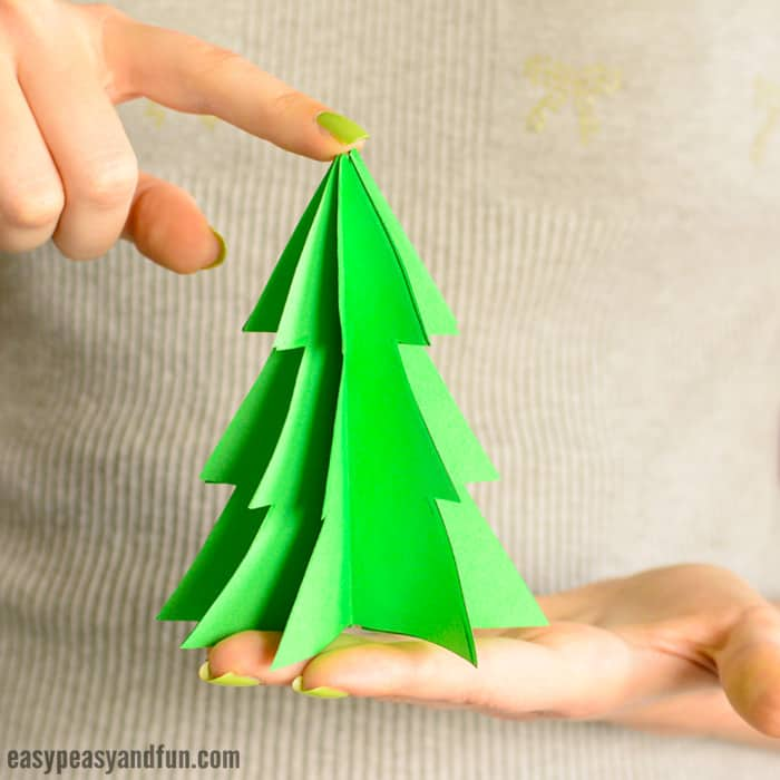 3D Paper Christmas Tree Template - Easy Peasy and Fun - christmas tree printables