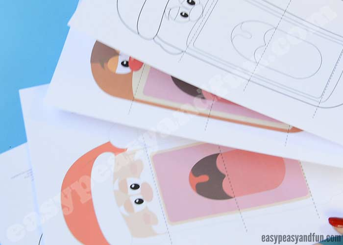 Printable Christmas Puppets - Santa, Elf and Reindeer Rudolph - Easy