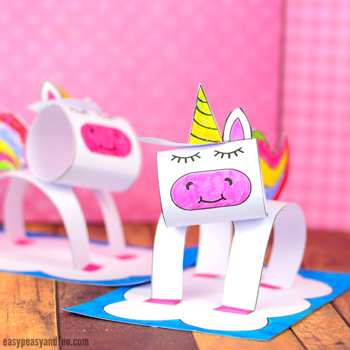 3D Construction Paper Unicorn Craft Printable Template - Easy Peasy