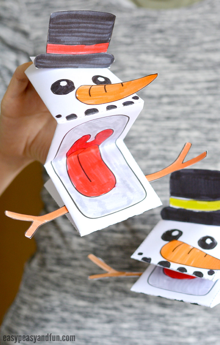 Printable Snowman Puppet - Easy Peasy and Fun