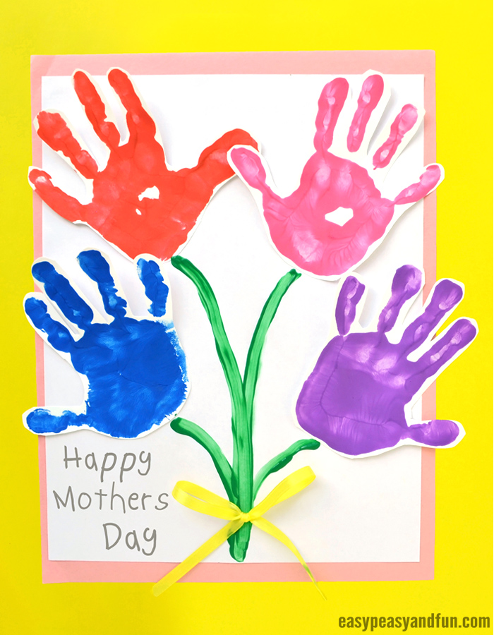 Mothers Day Handprint Art Flowers - Easy Peasy and Fun - mother's day