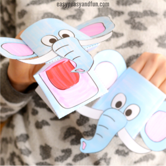 Elephant Puppet Printable Template - Easy Peasy and Fun