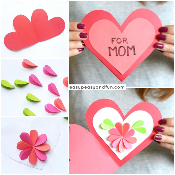 Heart Flowers Mothers Day Card - Easy Peasy and Fun