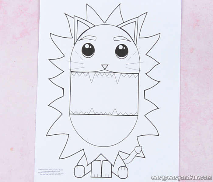 Surprise Big Mouth Lion Printable Template - Easy Peasy and Fun