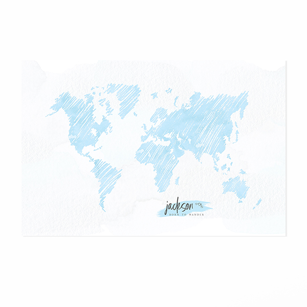 Personalized Sketch World Map Print - Easy Planet Travel