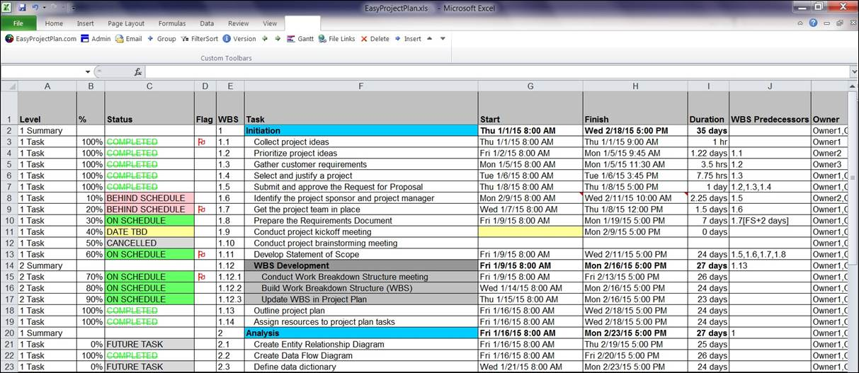 EasyProjectPlan© SCREENSHOTS Excel Gantt Chart Template Planner - Free Excel Project Planning Templates