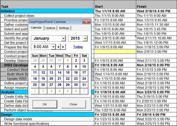 EasyProjectPlan© SCREENSHOTS Excel Gantt Chart Template Planner