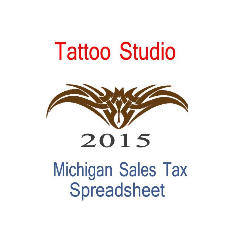 Michigan Tattoo Studio Accounts  Sales Tax Spreadsheet for 2015 end