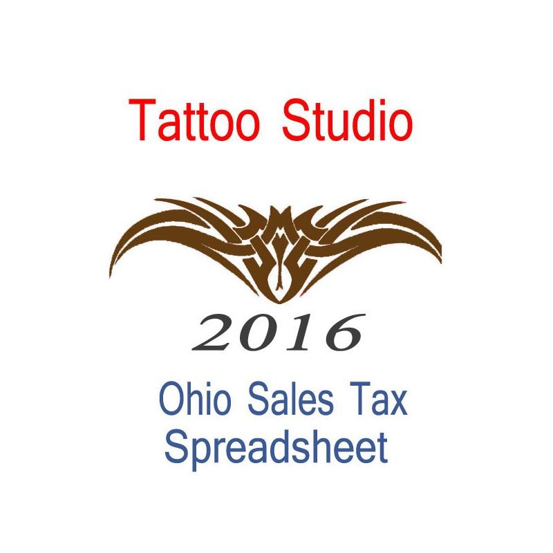 Ohio Tattoo Studio Accounts  Sales Tax Spreadsheet for 2016 year end