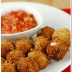 Fried Mozzarella Balls with Spicy Tomato Sauce