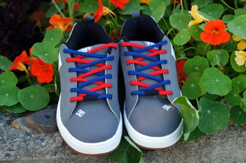 Easy Tie Shoelaces Red and Blue