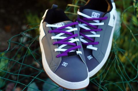 Shoe Easy Tie Dual Colored Shoelaces White Purple Criss Cross Lacing How to Lace Tie Your Shoes Method DC Mens Court Graffik Skate White Purple1 Medium