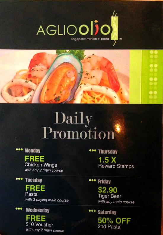 Aglio Olio Daily Promotions at China Square Central (Singapore)