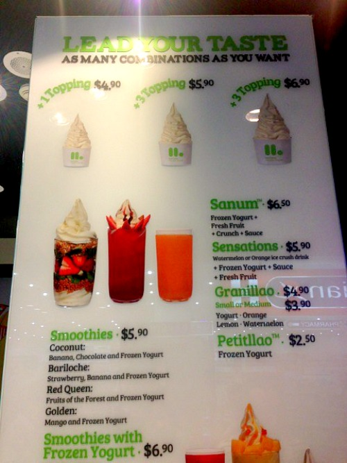 llaollao Singapore Menu