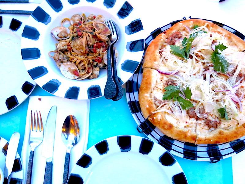Pork Sausage Pizza and Linguine Clams Pasta