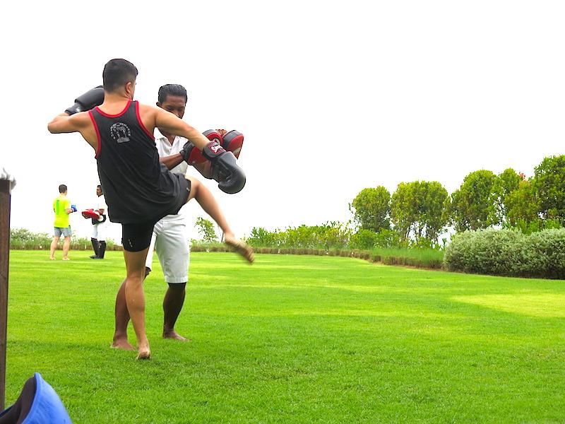 Evan doing Thai Boxing kick