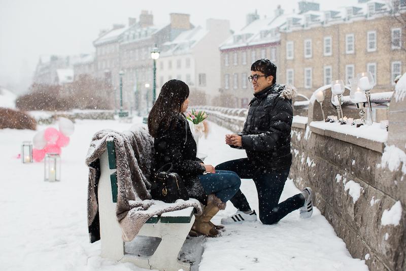 Evan on one knee proposing