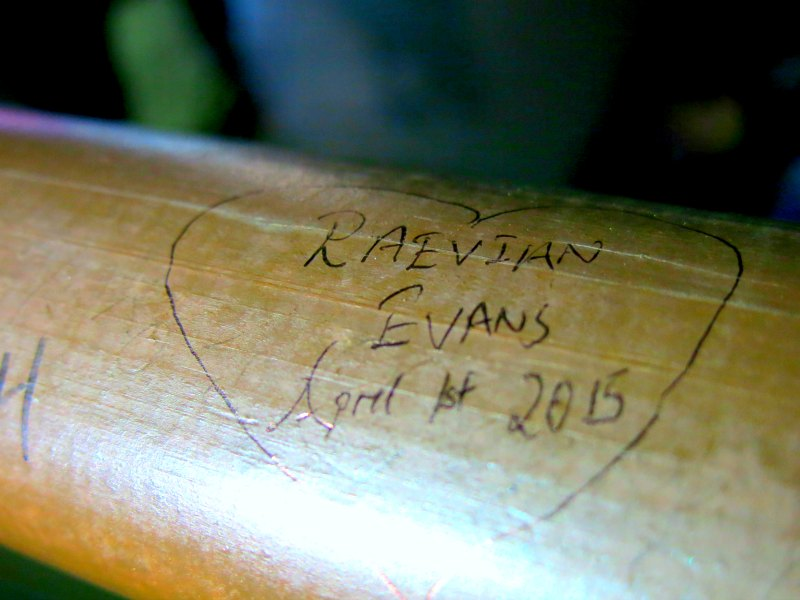 Evan and Raevian Love note on Namsan Mountain