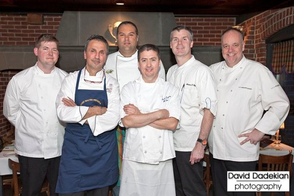 from left to right: Chef Champe Speidel of Persimmon, Chef Walter Potenza of Walter's Ristorante d'Italia, Chef Jose Duarte of Taranta Restaurant, Chef David Reynoso of Al Forno, Chef Andrew Shotts of Garrison Confections and Chef Tony Mantuano of Spiaggia