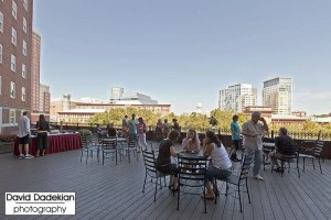 Terrace dining overlooking Providence