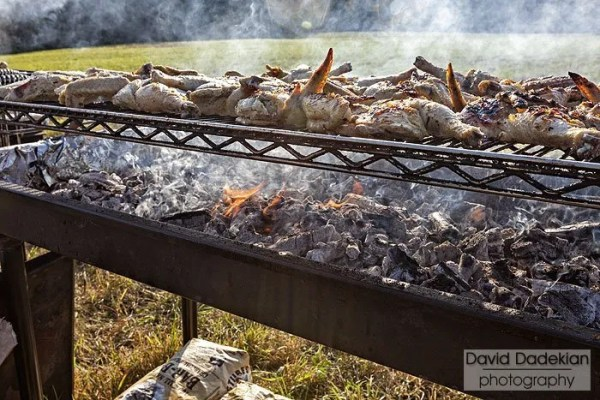 Aquidneck Farms chickens on the grill