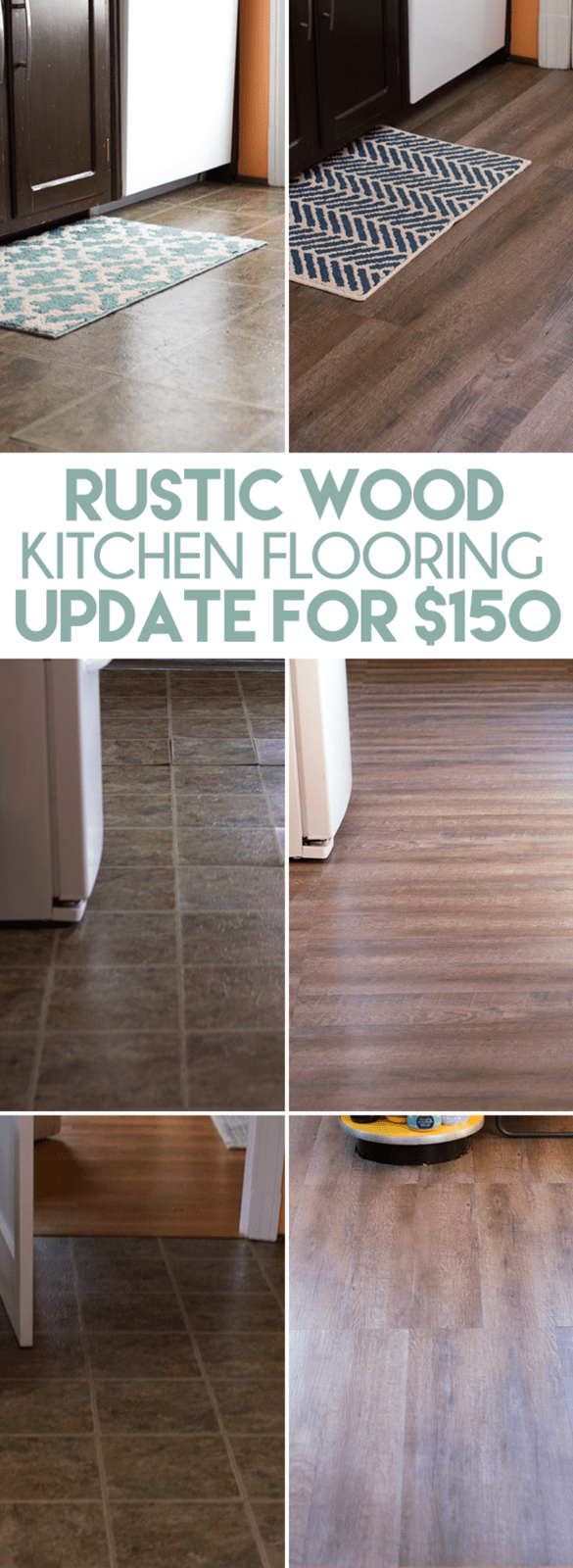 inexpensive rustic wood kitchen floors cheap kitchen flooring DIY Rustic Wood Plank Flooring for Cheap How we replaced our kitchen flooring with
