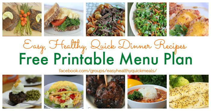 Healthy Meal Plan for January - Healthy Menu plan Pritntable