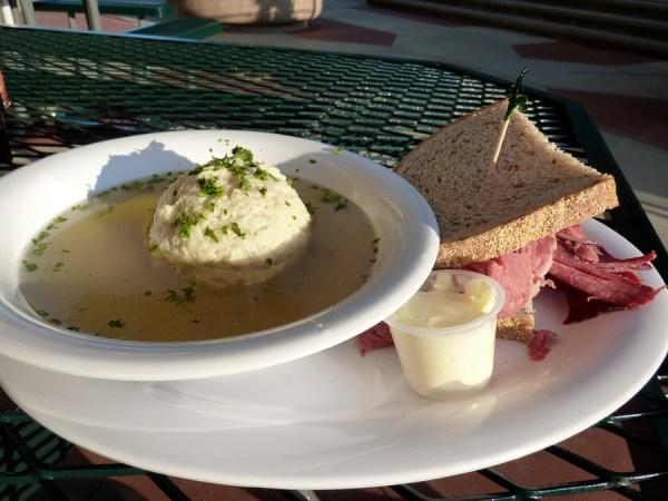 matzo ball soup and corned beef sandwich
