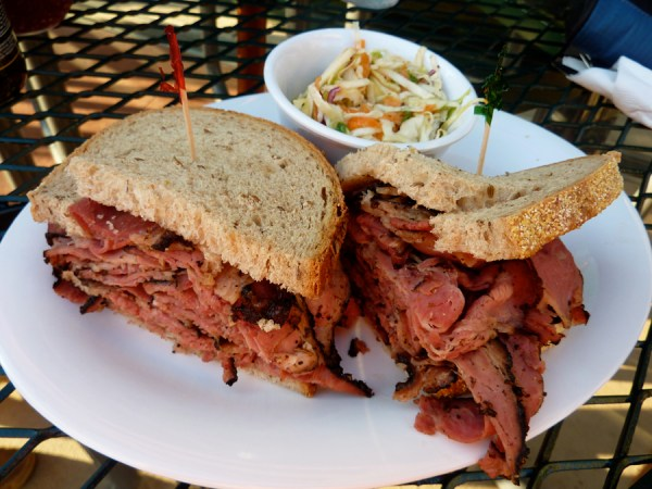 Pastrami on seeded rye from Streets Deli in Chapel Hill
