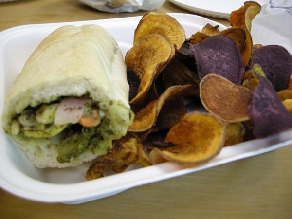 Summer squash and pesto sandwich