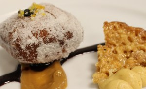 Orange-Scented Brioche Doughnut with Truffle Honey Creme, Cashew Truffle Twill, Caldo Zinfandel Gastrique, Caramelized White Chocolate Mousse, Keep Your Fork Farms Truffle Dulce de Leche (Chef Adam Hayes, Red Stag Grille)