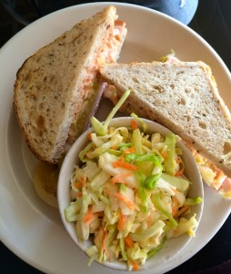 Turkey Reuben: Turkey with Swiss, kraut and Russian on rye