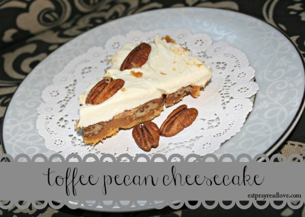 This delicious multi-layer dessert is reminiscent of pecan pie but so much more! Delicious layers of homemade crust, toffee and pecans, topped off with cheesecake, is a decadent treat for the holidays!