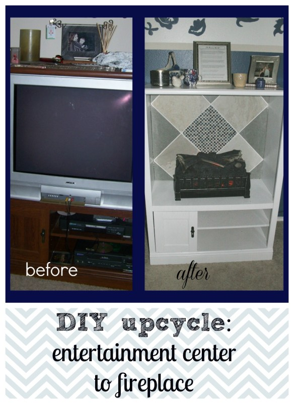 DIY upcycle entertainment center to fireplace
