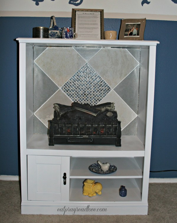 from entertainment center to fireplace DIY