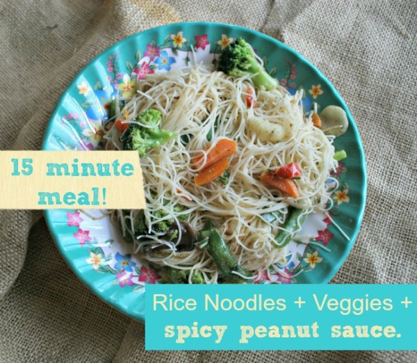 A 15 minute meal? Yes please! Spicy peanut sauce over rice noodles and veggies. Delish!