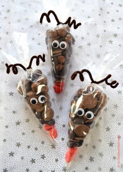 Fun Christmas Food Reindeer Treat Bags