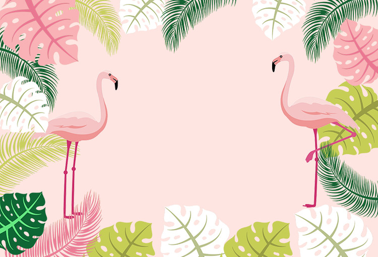 Pink Theme Flamingo Party Backdrop Tropical Leaves Children Happy