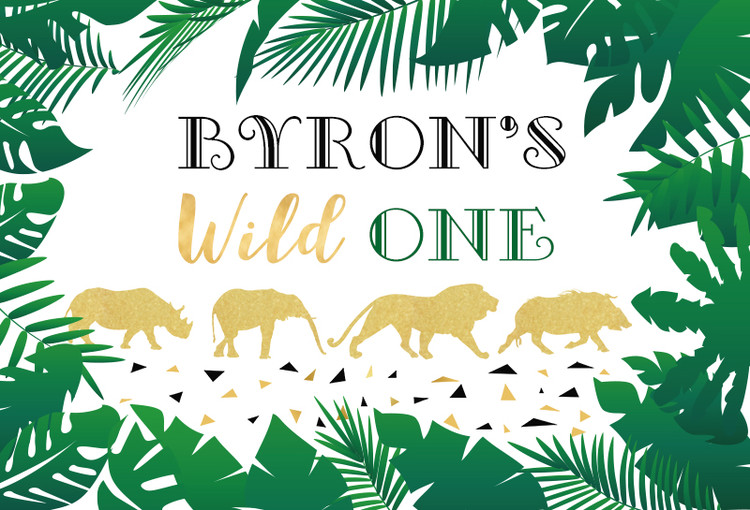 Photography Backdrop Wild One Tropical Leaves Birthday Party