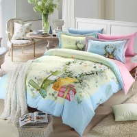 Elegant pink & light blue flowers bedding set | EBeddingSets
