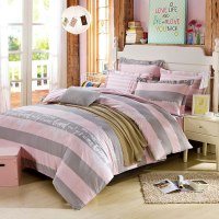 Beautiful Dull Grey And Pink Cotton Bedding Set