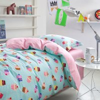Cute Light Blue and Pink Cupcake themed Cotton Bedding Set ...