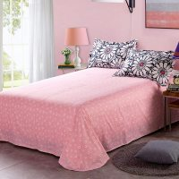 Charming Light Pink And Black Floral Cotton Bedding Set
