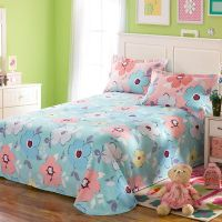 Lovely Pink And Light Blue Floral Cotton Bedding Set ...