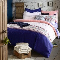 Refreshing Royal Blue And Pink Cotton Bedding Set ...