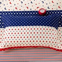 Star and Moon themed Blue and Red Cotton Bedding Set ...