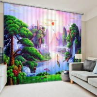 Green Nature Themed Curtain Set | EBeddingSets